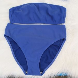 Lands End Ribbed Blue Bikini size 10